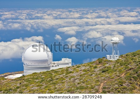 Telescopes at the highest top of La Palma, Canary Islands - stock photo