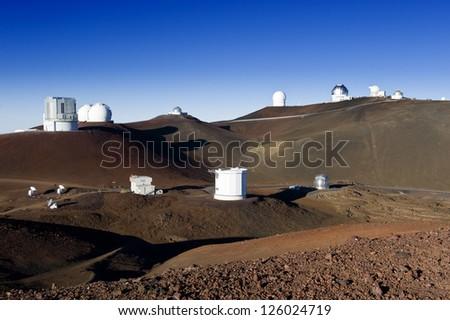 Telescopes on the summit of Mauna Kea, Hawaii. - stock photo