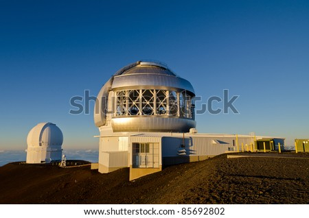 Telescopes on top of Mauna Kea in Hawaii - stock photo