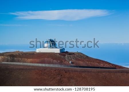 Telescopes on top of Mauna Kea Mountain, Big Island, Hawaii - stock photo