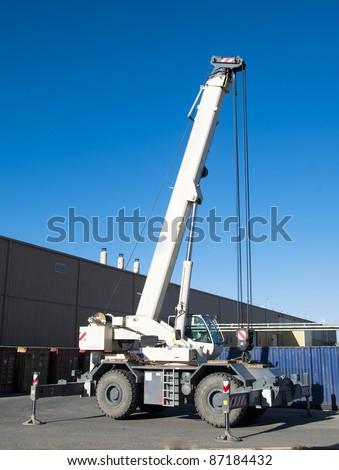 telescopic crane all-road - stock photo