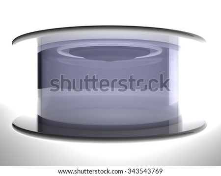Teletransportation capsule over white background, 3d render, horizontal image - stock photo