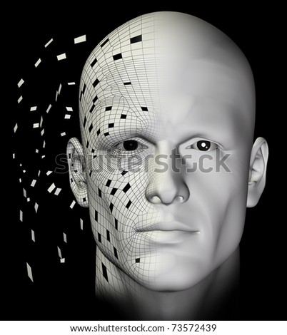Teletransported man connecting the virtual pieces. Futuristic 3d illustration.