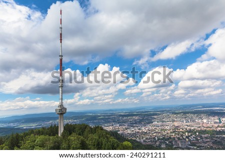 Televesion tower on top of uetliberg and the aerial view of  Zurich city - stock photo