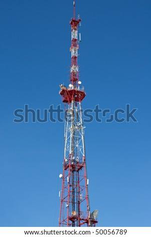 Television aerial communication antenna sky tower - stock photo