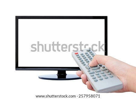 Television and remote control TV  - stock photo