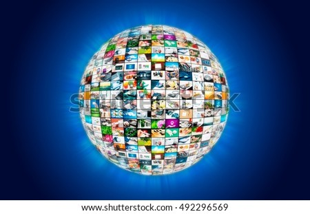 Television broadcast multimedia sphere globe in space abstract composition