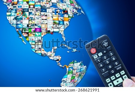 Television broadcast multimedia world map abstract composition - stock photo