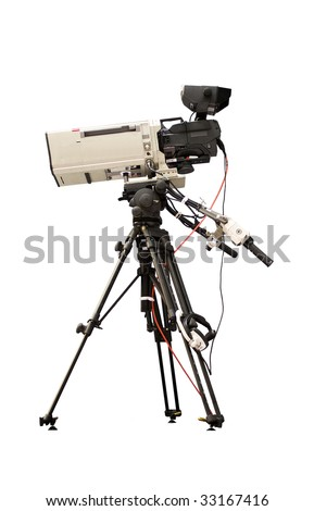 Television camera on a tripod - stock photo
