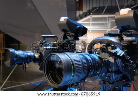 Television cameras in TV studio. - stock photo