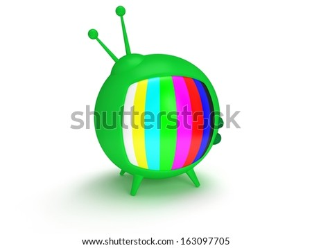 Television concept. Funny retro TV with antenna and four legs. 3d render. Isolated on white back. - stock photo