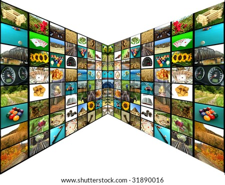 Television concept with many pictures - stock photo