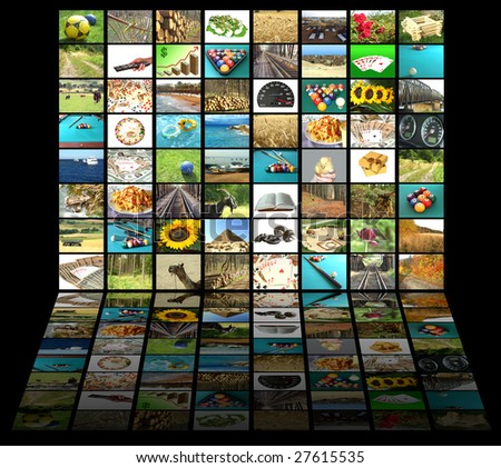 Television concept with many pictures and reflection on black background - stock photo