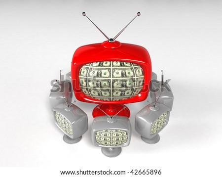 television displaying dollar - 3d rendering - stock photo