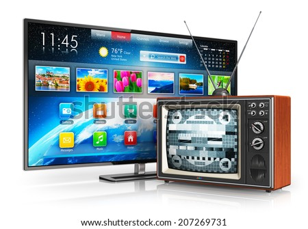 Television evolution and digital multimedia technology and media entertainment concept: old wooden CRT TV with antenna and new modern smart TV with colorful interface isolated on white background