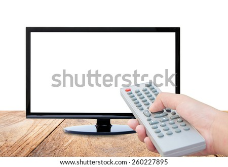 Television on wood floor and remote control TV on white background