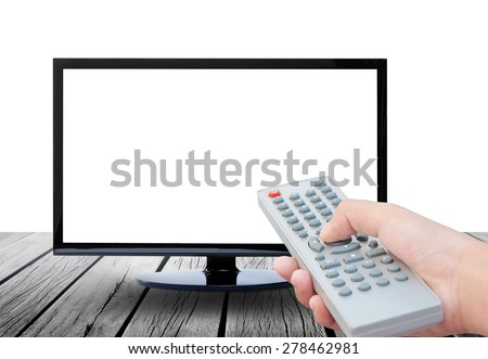 Television on wood floor and remote control TV on white background - stock photo