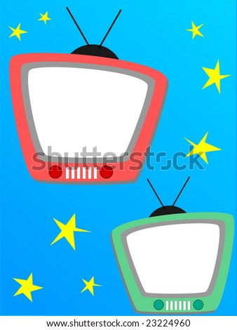 Television photo frame, or page for a scrapbook - stock photo