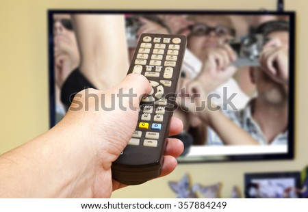 Television remote control changes channels thumb  - stock photo