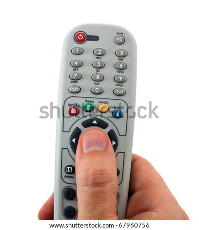 Television remote control in the hand isolated on white background - stock photo