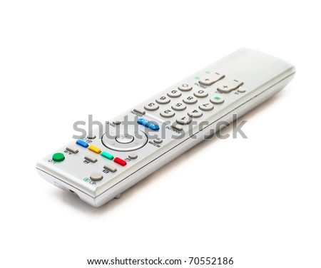 Television remote control on white background - stock photo