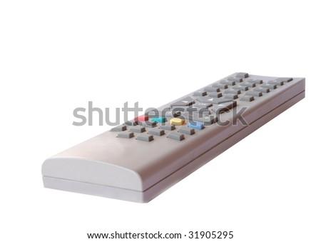 television remote control over white background - stock photo