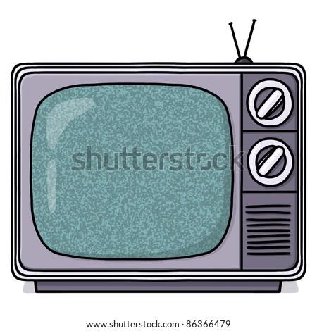 Television set illustration; Vintage tv screen; Retro style TV set drawing - stock photo