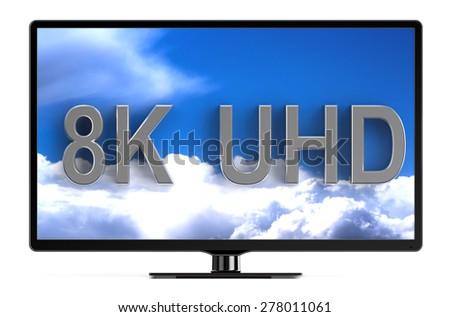 television set with 8K UHD isolated on white background - stock photo