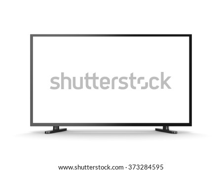 Television Set with White Blank Screen on White Background 3D Illustration, Front View - stock photo