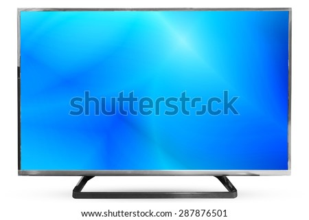 Television sky or monitor landscape isolated on white background : clipping path frame television - stock photo