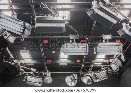 Television studio with lights