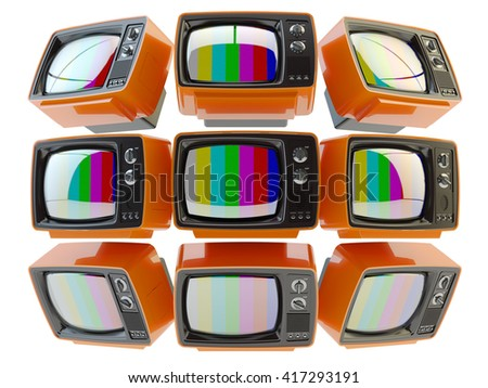 Television, telecommunication, mass media broadcasting and surveillance concept, video wall from retro tv set receivers with no signal on screens isolated on white, 3d illustration