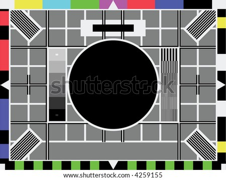 Television test screen used when no signal. Put your own image in the black circle. Room for text in grey part below. - stock photo