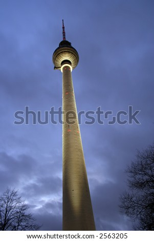 Television Tower in Berlin, Germany. Beautiful blue sky in the evening - stock photo