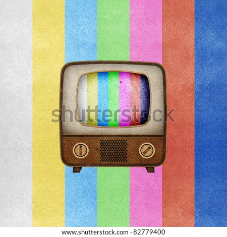 Television ( TV ) icon recycled paper stick on grunge retro screen color background - stock photo