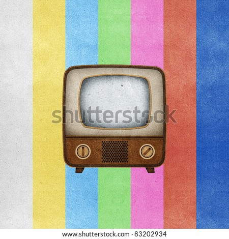 Television ( TV ) icon recycled paper stick on grunge retro screen color background