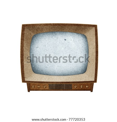 Television ( TV ) icon recycled paper stick on white background - stock photo