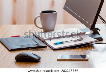 Telework concept. Workplace home. distance work - stock photo