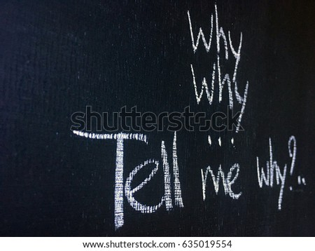 Tell Me Why Wallpaper Concept Background Chalkword On Black With Many