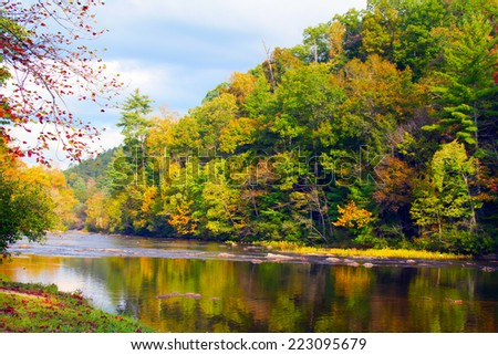 Tellico River in Cherokee National Forest, just outside Great Smoky Mountains National Park in Tennessee - stock photo