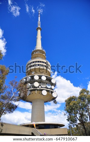 telstra tower canberra stock photo royalty free. Black Bedroom Furniture Sets. Home Design Ideas