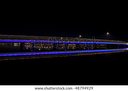 Tempe city lake train lights at night - stock photo