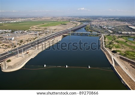 Tempe Town Lake looking east towards Mesa and the Salt River - stock photo
