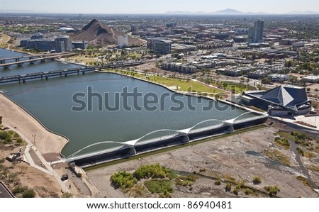 Tempe Town Lake Pedestrian Bridge - stock photo