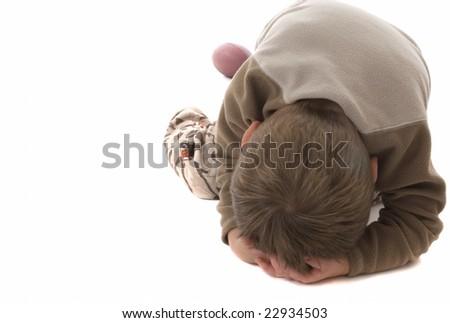 Temper tantrum toddler - stock photo