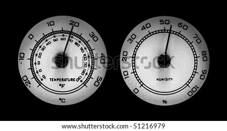 Temperature and humidity gauges at comfortable levels - stock photo