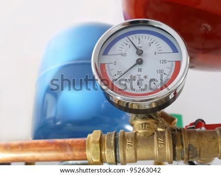 Temperature Pressure Gauge Mounted On Boiler Stock Photo