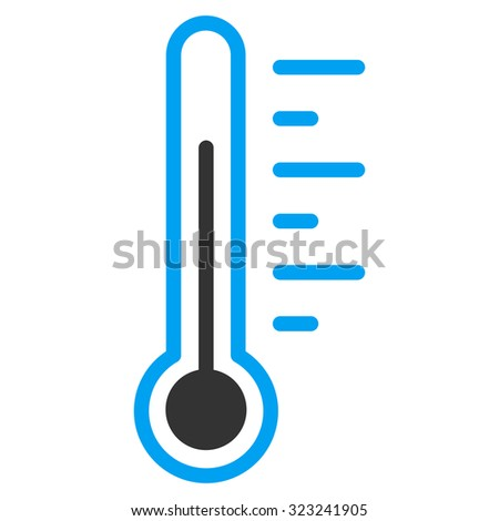 Temperature Level glyph icon. Style is bicolor flat symbol, blue and gray colors, rounded angles, white background. - stock photo