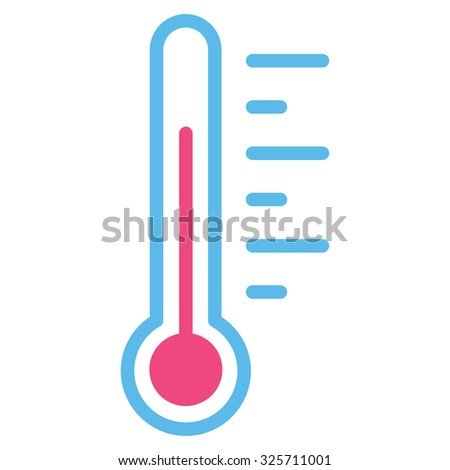 Temperature Level glyph icon. Style is bicolor flat symbol, pink and blue colors, rounded angles, white background.