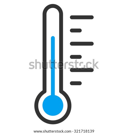 Temperature Level raster icon. Style is bicolor flat symbol, blue and gray colors, rounded angles, white background. - stock photo